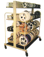 photo of a double sided mobile reel rack